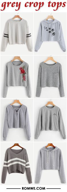 grey crop tops 2017 - romwe.com