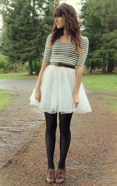 white flared skirt, black waist belt, white and black striped sleeved shirt, opaque black tights, brown leather oxfords Fall Outfits, Cute Outfits, Fashion Outfits, Picture Outfits, Women's Fashion, Spring Summer Fashion, Autumn Winter Fashion, Winter Style, Vogue