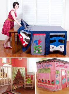 goes over a table or something tall and its a little inexpensive play house! Cute Sewing Projects, Diy Projects, Baby Sensory Classes, Kids Crafts, Card Table Playhouse, Diy Karton, Licht Box, Imaginative Play, Baby Play