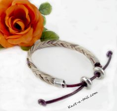 Adjustable, easy pull string horsehair bracelet Beaded  real horsehair bracelet The perfect  Cowgirl bracelet, easy on-off What a BEAUTY! by Knotatail on Etsy