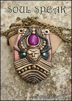 The Clay Goddess | Galactic fairy girl clay necklace pendant goddess by SweetlyART, $72 ...