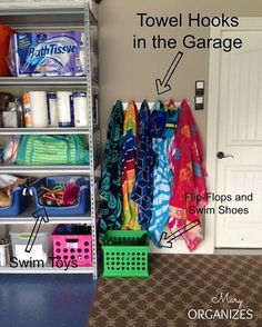 """25 Likes, 1 Comments - Janet M. Taylor (@organizerjanet) on Instagram: """"Create a space in the garage to hang towels and place wet shoes from the pool. From…"""""""