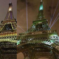 エッフェル塔今夜はライトアップしないのかなと思っていたらCOP21PARIS2015に合わせたのかな緑のイルミネーションいつもは見られないカラーらしいので偶然見られたのはラッキーでした_ by 44humi Eiffel_Tower #France
