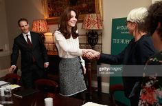 Catherine, Duchess of Cambridge meets staff in the 'News Room' at Kensington Palace on February 17, 2016 in London, England. The Duchess of Cambridge is supporting the launch of the Huffington Post UK's initiative 'Young Minds Matter' by guest editing the Huffington Post UK today from Kensington Palace.