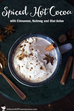 This spiced hot cocoa recipe combines cinnamon, nutmeg and star anise to create a hot cocoa drink that's full of comforting flavours. Hot Cocoa Recipe, Cocoa Recipes, Hot Chocolate Recipes, Vegetarian Chocolate, Tea Recipes, Dessert Recipes, Drink Recipes, Desserts, Vegan Chocolate