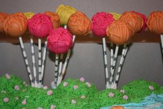 Truffula tree cake pops