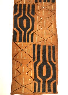 Kuba Cloth Specially Priced! Authentic Congo Textile, Faded Rust Ground with Natural Appliqués, Conch shells, 9 feet long by MorrisseyFabric on Etsy