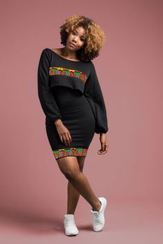 Description: Crop top jumper with African print detail and bodycon dress. Fabrics: Polyester & supreme wax holland Care instructions: Handwash cold/warm, Do not bleach, Hang to dry, Warm iron inside out. Allow up to 3 days for order processing. Short African Dresses, African Inspired Fashion, Latest African Fashion Dresses, African Print Dresses, African Print Fashion, African Clothes, Ankara Fashion, Africa Fashion, African Prints
