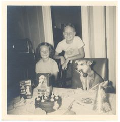 vintage birthday party for dog (via Antique Dog Photos)