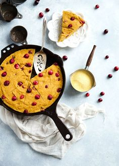 This Pumpkin Cornbread is a lightened up version of traditional cornbread. Made with whole grains, pumpkin, pure maple syrup, speckled with just a hint of brown butter and bursting with juicy, tart cranberries! Thanksgiving Recipes, Fall Recipes, Holiday Recipes, Thanksgiving Sides, Dinner Recipes, Cranberry Recipes, Yummy Recipes, Snack Recipes, Skillet Cornbread