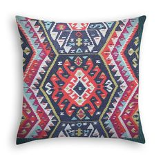 Kilim pillow cover in denim navy, fuchsia, coral orange, grey and cream. Tribal Kilim Pillow. Trendy cushion cover, Unique Pillow.
