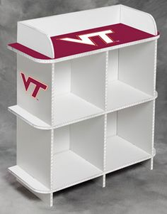 "29"" wide x 12"" deep x 30"" tall 4-cube storage organizer with Virginia Tech University Hokies graphics and colors.  Easy assembly - no tools required. Designed to hold storage cubes (fabric cubes sold separately)."