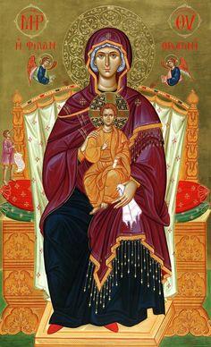 """Madonna Kyriotissa, """"che Assisa in trono porta il Signore"""" o """"Dominatrice del Mondo"""". Il tipo di icona raffigura la Madonna seduta in trono in abito di """"basilissa""""."""