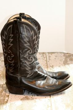 Dan Post Mens Cowboy Boots Black with White Stitching 12 | eBay