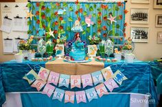 Under the sea birthday party! See more party ideas at CatchMyParty.com!