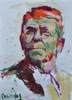 Original Abstract Ronald Reagan Painting Mixed Media by painthog