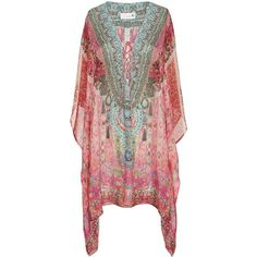 Camilla Women's Belleza Lace-Up Caftan ($500) ❤ liked on Polyvore featuring tops, tunics, multi, drape top, draped tunic, silk top, kaftan tops and silk tunic