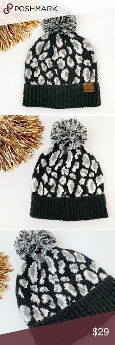 NWT Women/'s Hat Heart Stud Detail Knit Beanie Hat Black Xhilaration 2 for $10