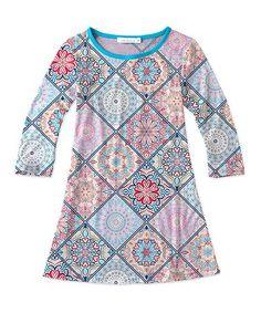 Geometric Three-Quarter Sleeve Dress