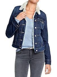 Women's Faux-Shearling-Lined Denim Jackets