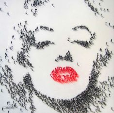 Illusion: On the Internet, there seems to be a lot of misinformation about Craig Alan's work. These images are not aerial photographs, but actually mixed-media artwork. The artist paints a large number of tiny people to form portraits of celebrities such as Marilyn Monroe, Elvis Presley, Audrey Hepburn, and more.     (Image © Craig Alan)    http://illusion.scene360.com/art/32295/a-big-kiss-from-marilyn/