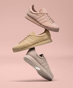 adidas Originals revives the iconic Samoa silhouette featuring three unique colorways wrapped entirely in pigskin with a suede treatment creating a luxe edition of this classic adidas silhouette.