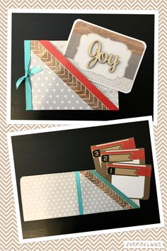 Double-pocket Joy handmade card with three note inserts