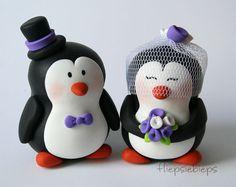 eeeep!! Customise Penguin Wedding Cake Topper by fliepsiebieps on Etsy