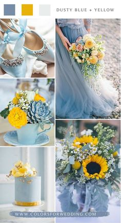 dusty blue and yellow wedding color ideas flowers decoration yellow 10 Blue Wedding Color Palettes for Your Big Day Aqua Wedding Colors, Blue Yellow Weddings, Spring Wedding Colors, Dusty Blue Weddings, Wedding Color Schemes, Fall Wedding, Dream Wedding, Yellow Themed Weddings, Wedding Ideas Blue