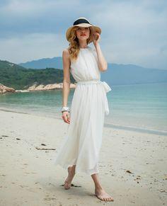 Sleeveless maxi chiffon beach dress white