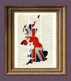 United Kingdom Art UNION JACK flag silhouette map beautifully upcycled vintage dictionary page book art print