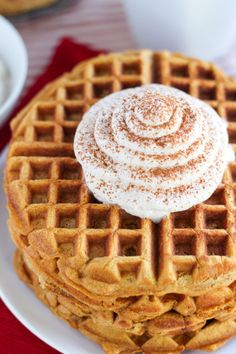 Gingerbread Waffles with Cinnamon Whipped Cream All we need is