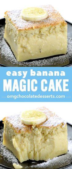 Easy banana layer magic custard cake. A fudgey ... MAGIC dessert!