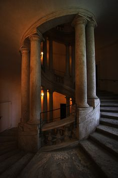 Adalberto Tiburzi, Gothic stone large spiral staircase with columns. Beautiful Architecture, Art And Architecture, Staircase Architecture, Creative Architecture, Classical Architecture, Historical Architecture, Arquitectura Wallpaper, Stairway To Heaven, Spiral Staircase
