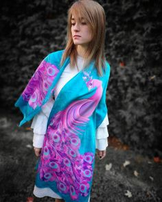 "Hand painted Silk scarf ""Paon de Paradis"" by KseniaSilkArt on Etsy Head Scarf Styles, Animal Crossing Qr Codes Clothes, Frack, Painted Silk, Hand Painted, Silk Scarves, Silk Fabric, Dress Outfits, Kimono Top"