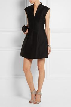 Halston Heritage | Cotton and silk-blend faille mini dress | NET-A-PORTER.COM