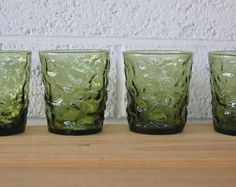 3 Vintage Green Glass Tumblers Anchor Hocking by CherItForward