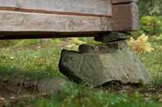 Urnatur, Sweden: The Lodges, corner stones House Foundation, Small Buildings, Garden Features, Lodges, Country Style, Sweden, Home And Garden, Wood, Nature
