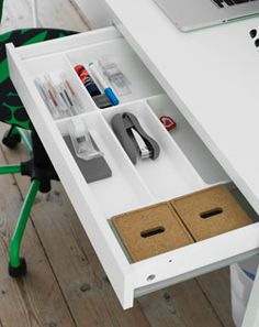 Too much clutter on your desk? Get space saving IKEA desk organizers and you can start the new year off with a clean slate! Desk Paper Organizer, Paper Organization, Ikea Office, Office Decor, Office Ideas, Study Room Design, Office Organization At Work, Ikea Usa, Ikea Storage