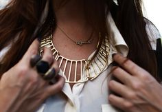 For the love of pretty blog. Golden necklace with white shirt