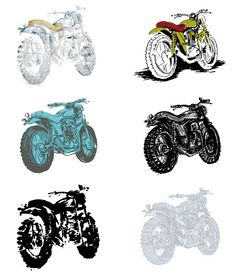 #simple #scrambler #motorcycle / #motorbike #illustration showing a range of styles and starting points. #art #lowbrow #contemporary #naive