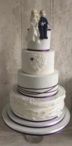 purple hearts wedding cake - Cake by Clare's Cakes - Leicester
