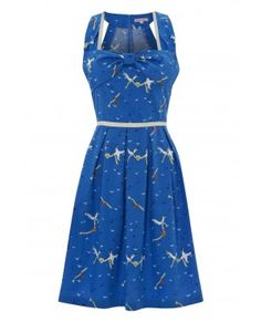 197 - Rock n Rollers Dress - Bright Blue Seagull - front