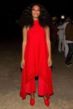 At The End Of Every Rainbow Is Solange Knowles #refinery29  http://www.refinery29.com/2016/01/101954/solange-street-style-pictures#slide-14  You know, matador red to stunt for the paparazzi....