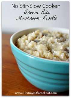 Recipe for Slow Cooker No-Stir Brown Rice Mushroom Risotto #crockpot