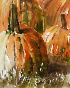 Folk art  Primitive Pumpkin PRINT of original watercolor pumpkin painting 8 x 10 ( Halloween art print) Pumpkin print orange art fall decor via Etsy