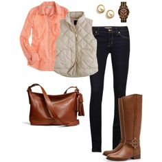 gingham. vest. tall boots. cool weather perfection.