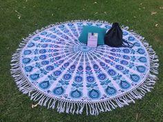 Bohemian mandala tapestry roundie throw by KOSMOtapestrys on Etsy