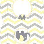 Bolsinha para lembrancinha Elefantinho Chevron Amarelo e Cinza