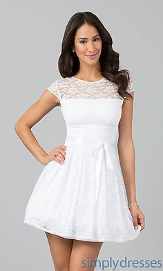 Short White Lace Dress White Homecoming Dresses - Simply Dresses ...
